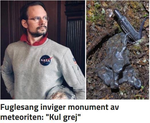 Johan Benzelstierna von Engeström vid den berömda rymdstenen
